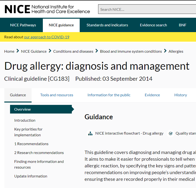 Drug allergy NICE